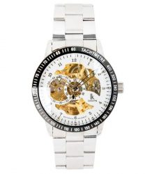 IK Skeleton Business Steel White Dial