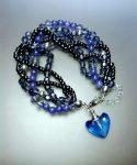 Kék Mámor karkötő kristálymedállal * tárcával