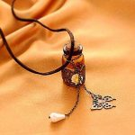 Amber Bőrnyaklánc miniüveg medállal * ajándék tárcával