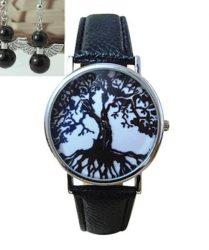 Tree of Life Black - angyal gyöngy karkötővel, fülbevalóval
