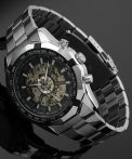 Winner Skeleton Business Black Dial